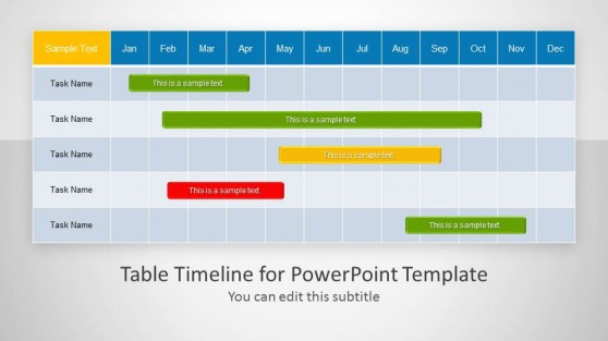 Quarters powerpoint templates table timeline template for powerpoint toneelgroepblik Image collections