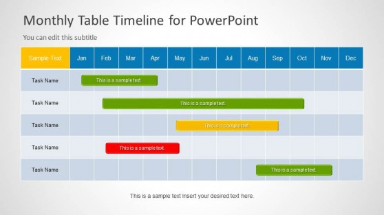 Monthly Timeline Slide Design for PowerPoint