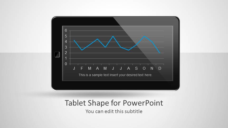 Tablet Shape for PowerPoint with Line Chart