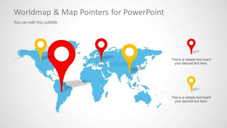World map powerpoint slide design with map pointers slidemodel world map powerpoint slide design with map pointers gumiabroncs Choice Image
