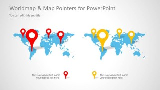 World Map Slide Design for PowerPoint with Map Pointer