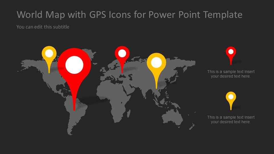 World Map PowerPoint Slide Design with Map Marker