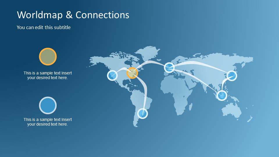 Powerpoint Global Map.Worldmap Connections Powerpoint Template Slidemodel