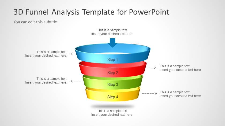 PPT Funnel Diagram with Four Steps