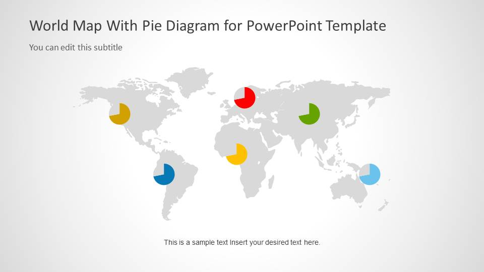 World Map Template With Pie Charts For Powerpoint Slidemodel