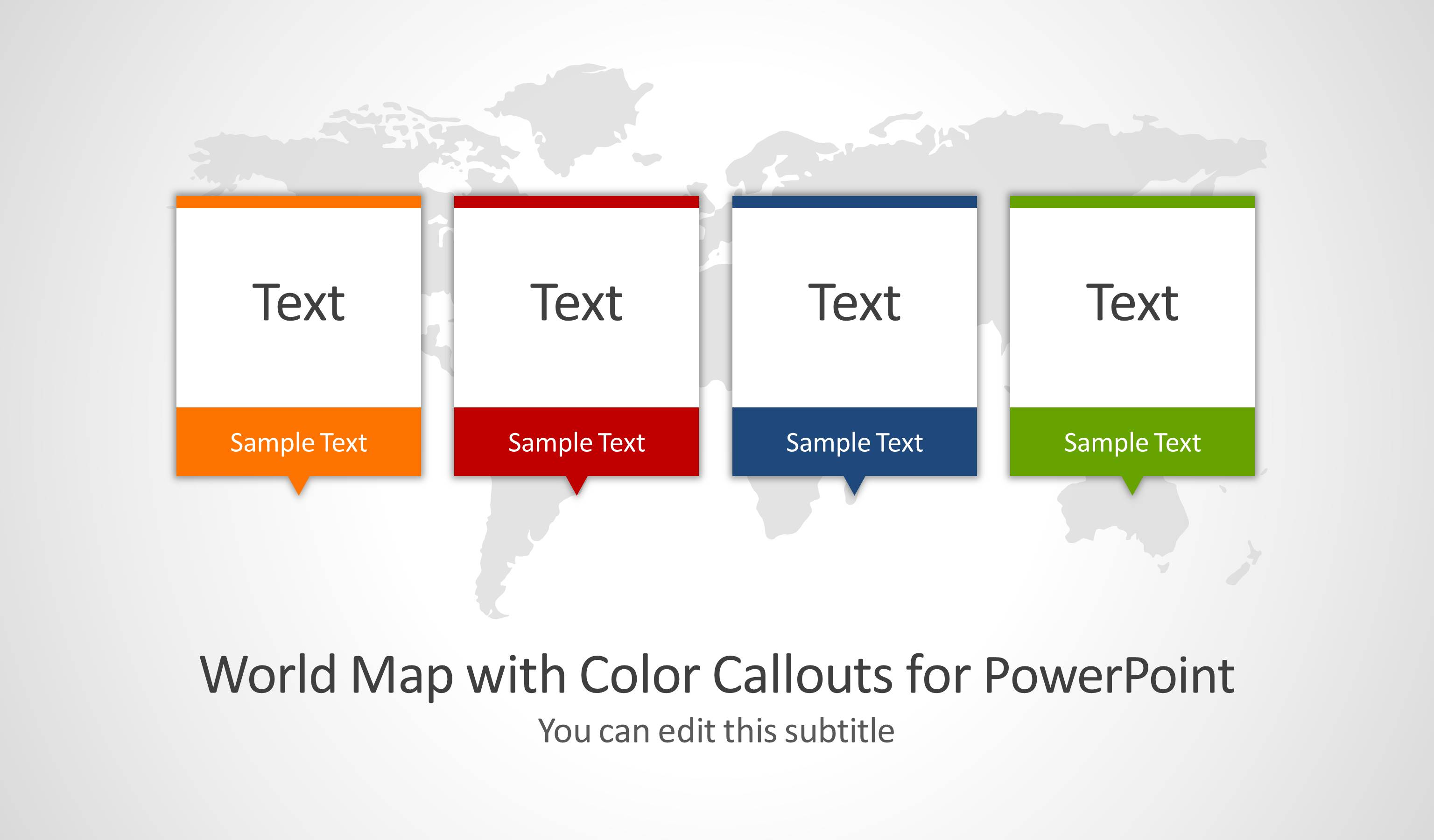 world map with color callouts for powerpoint