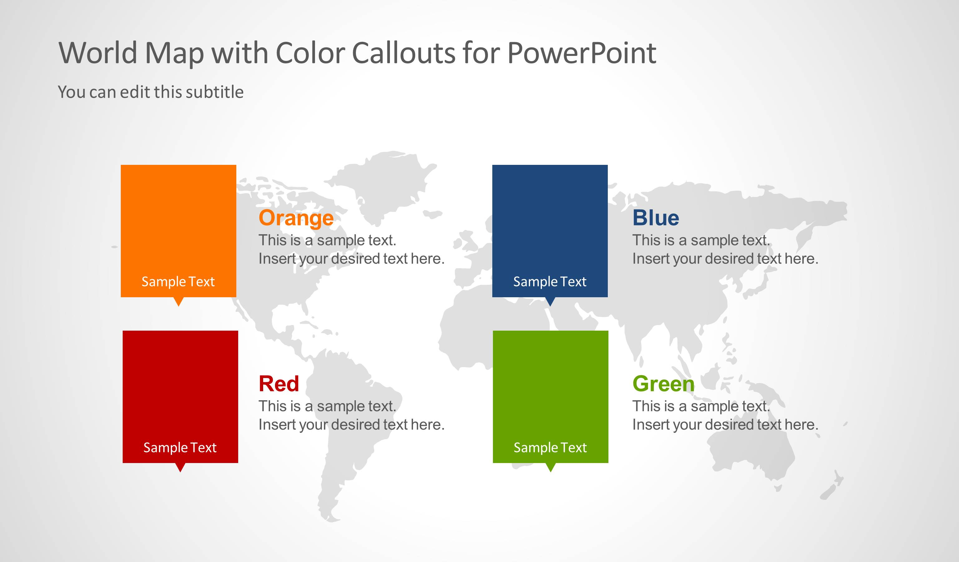 World map with color callouts for powerpoint slidemodel gumiabroncs Images