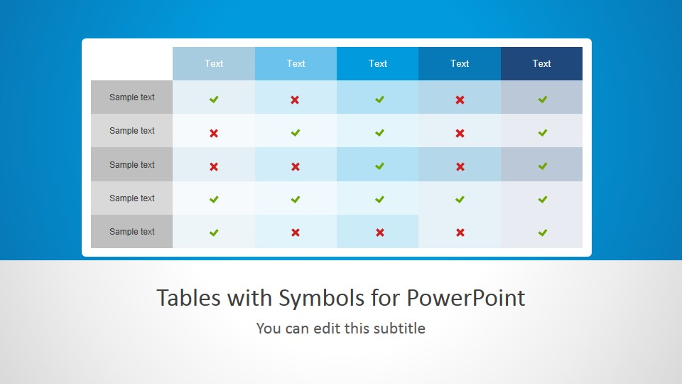 Tables with symbols for powerpoint for Table design ppt