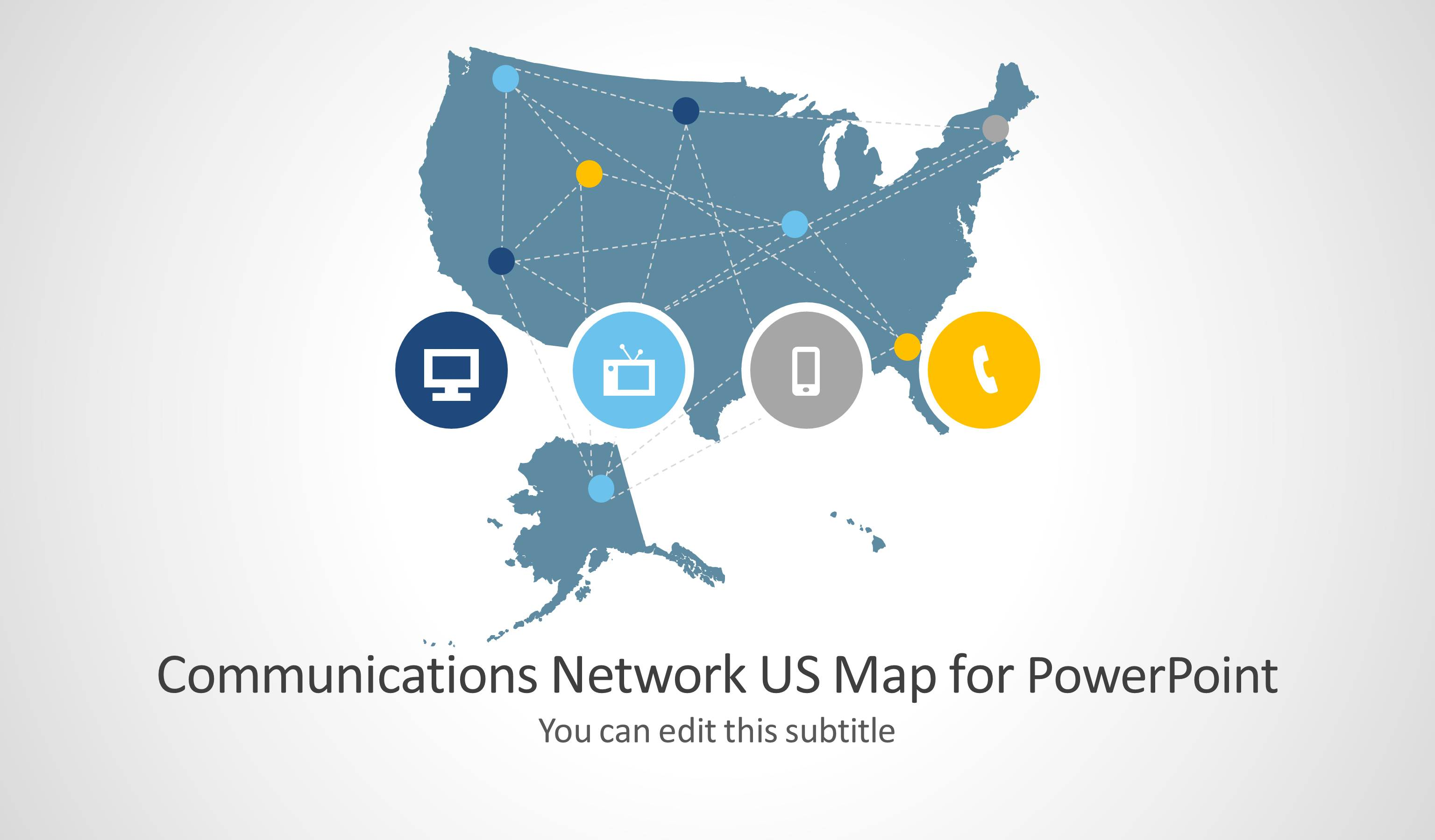 Communications Network Template With US Map For PowerPoint - Us map powerpoint template