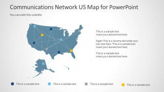 Communications Network Template With US Map For PowerPoint - Microsoft us map template