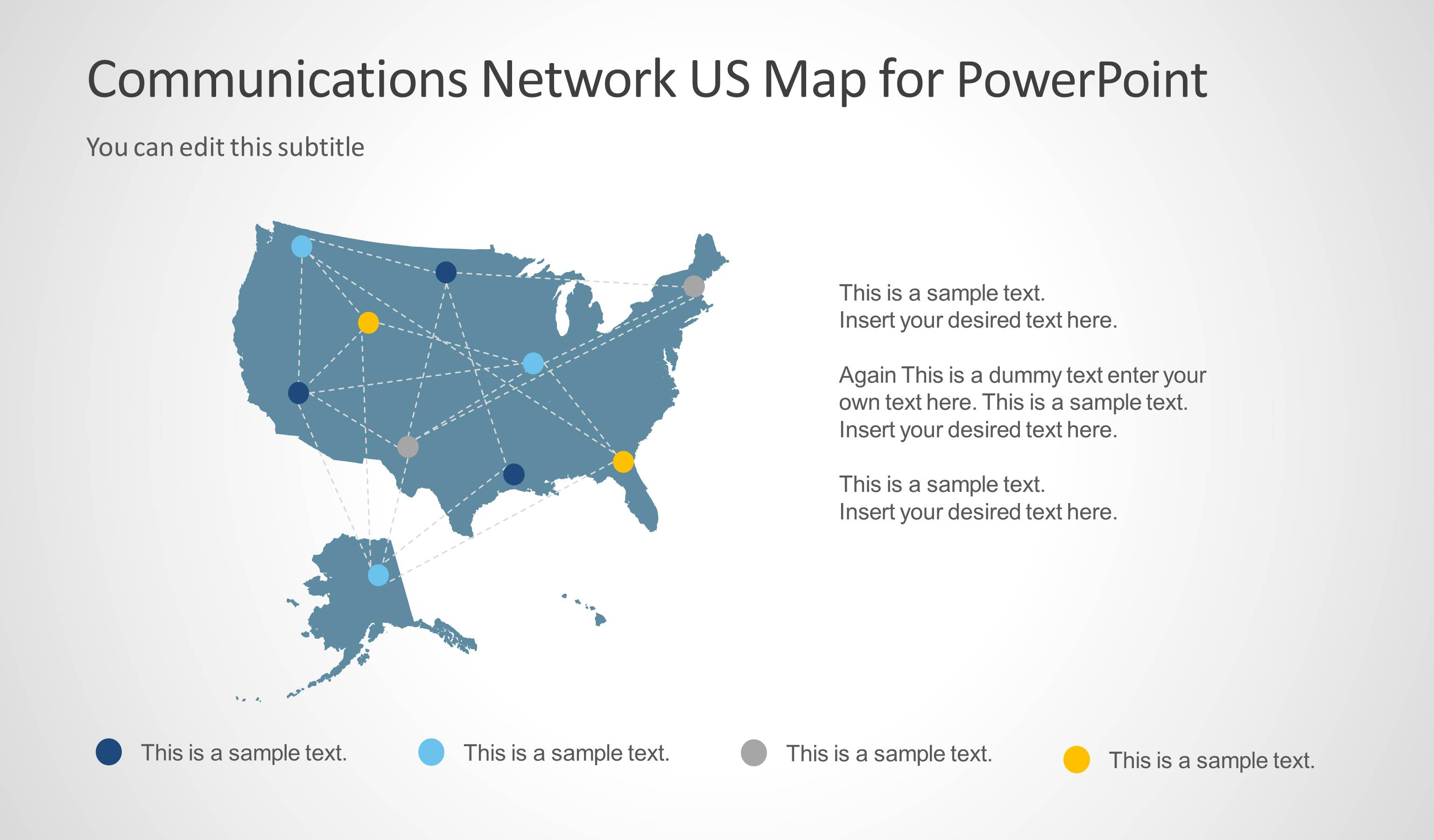Communications Network Template With US Map For PowerPoint - Us map interactive edit