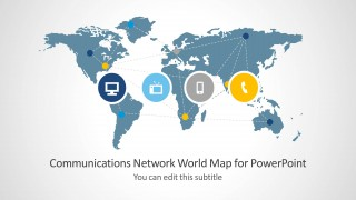 Communications network template with world map for powerpoint communications network template with world map for powerpoint depicts the world map with a number of communication themed clipart and slide objects that you gumiabroncs Images