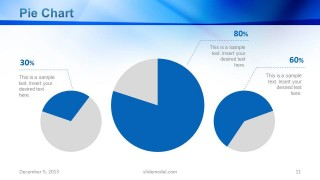 3 Data Driven Pie Chart Slide Design with 2 Pie Chart Colors