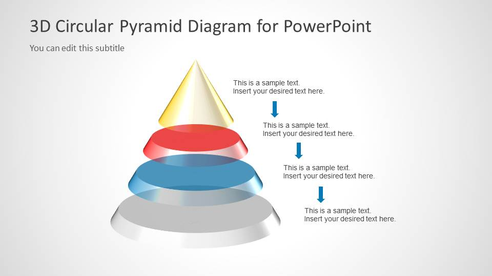 3d circular pyramid diagram for powerpoint slidemodel. Black Bedroom Furniture Sets. Home Design Ideas