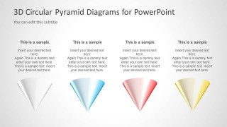 4 Inverted 3D Cone Diagrams Slide Design for PowerPoint