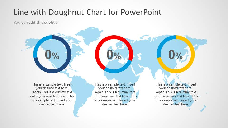 Line with doughnut chart template for powerpoint slidemodel 3 doughnut charts in powerpoint slide with world map illustration gumiabroncs Gallery