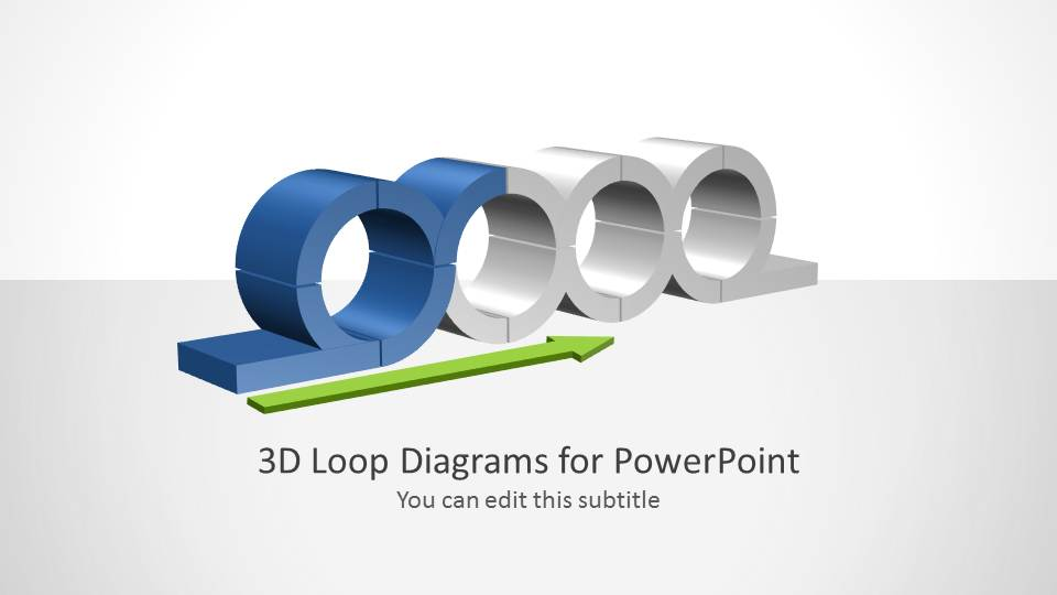PowerPoint 3D Perspective Chained Loops Diagram