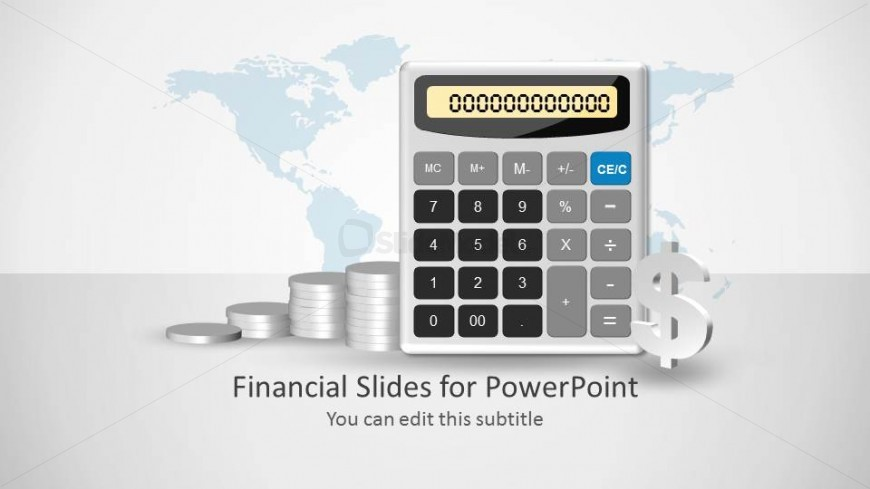 Calculator Slide Design Shape for PowerPoint with Coins and Dollar Sign
