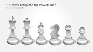 White Chess Set Illustration for PowerPoint