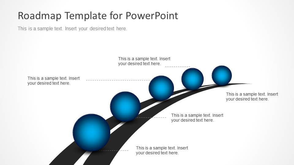 roadmap timeline with spheres for powerpoint - slidemodel, Modern powerpoint