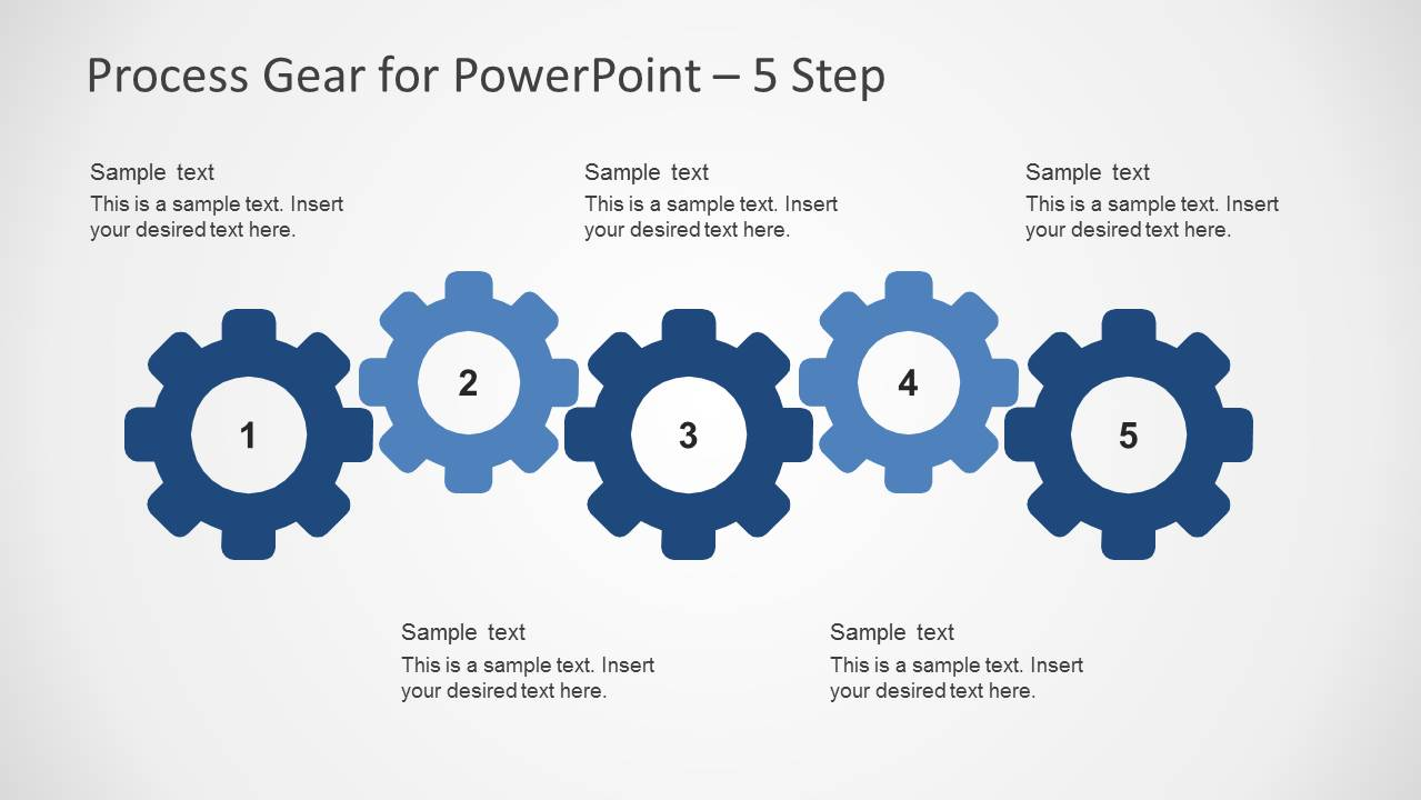 5 Steps Process Slide Design with Gear Shapes for PowerPoint