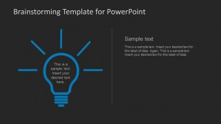PowerPoint Clipart of Blue Light Bulb