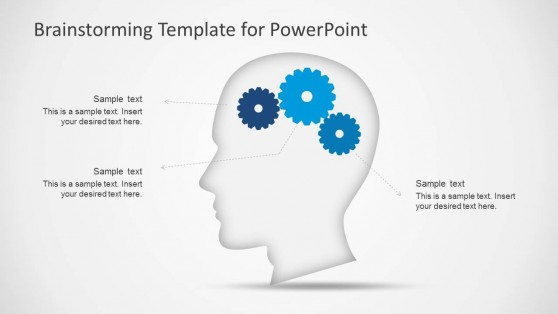Head Silhouette Clipart with Gears Shapes for PowerPoint