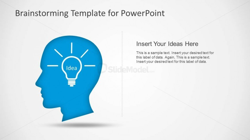PowerPoint Shapes of Head and Lightbulb