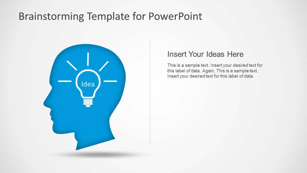 Brainstorming powerpoint template slidemodel powerpoint shapes of head and lightbulb ccuart Image collections
