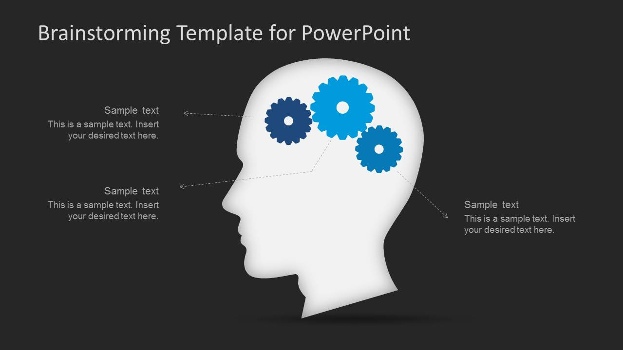 Brainstorming powerpoint template slidemodel brainstorming ideas powerpoint shapes of head and gears over dark background ccuart Image collections