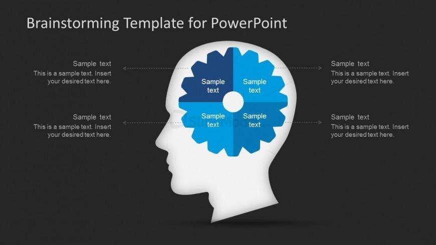 brainstorming slide design with brain illustration and