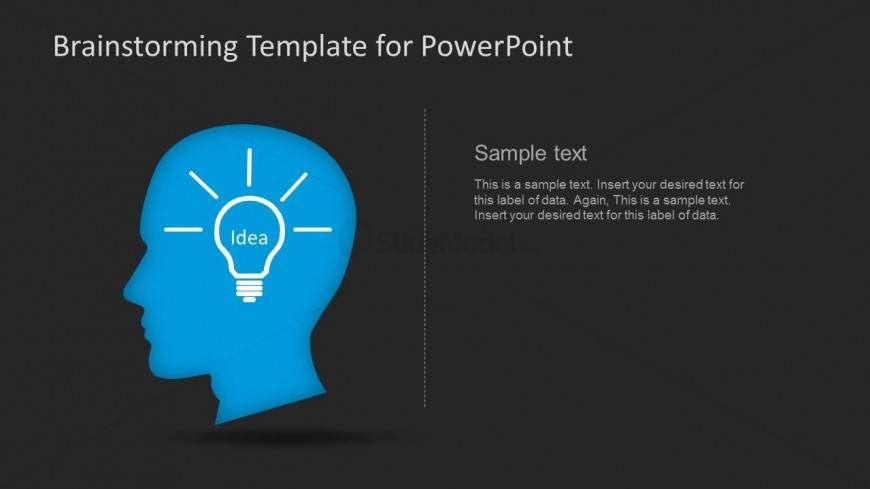Brainstorming Idea PowerPoint Template Slide with Human Head