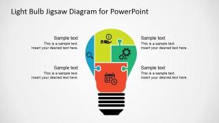PowerPoint Four Steps Light Bulb Puzzle Diagram
