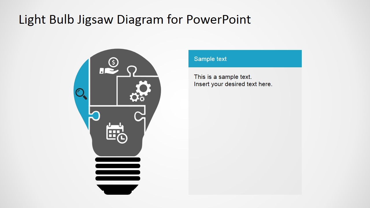 jigsaw puzzle pieces light bulb diagram for powerpoint