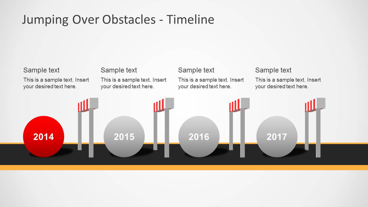 challenges  u0026 hurdles timeline for powerpoint