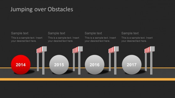 Dark Challenges & Hurdles Timeline for PowerPoint