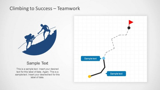 Team Work Slide Design with Path Tracking Illustration