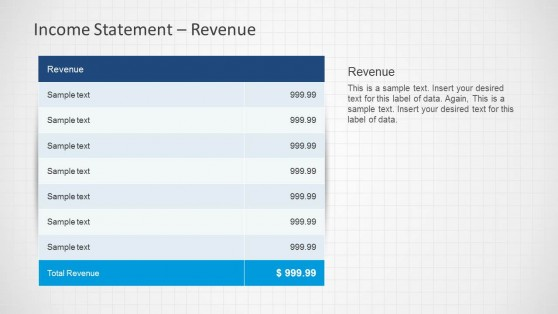 Income Statement Table for Revenue