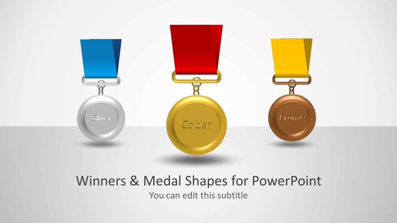 3 Medals Silver Golden Bronze Slide for PowerPoint