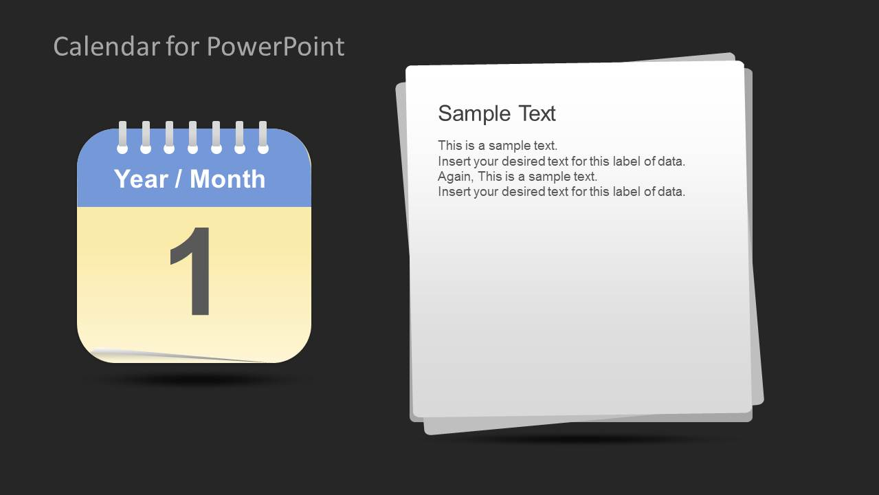 Calendar Template For PowerPoint   Month; Year Month Calendar Template With  Text Notes ...