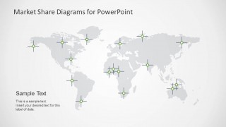 Global World Map Market Share Diagram for PowerPoint
