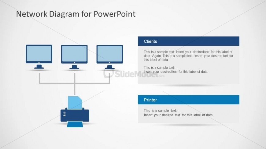 Network Diagram With 3 Clients And Printer Slidemodel