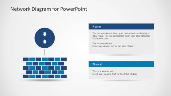 Network Diagram with Arrows and Wall for PowerPoint