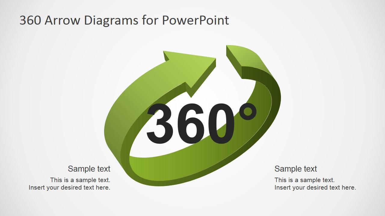 PowerPoint 3D Arrow for 360 Diagram