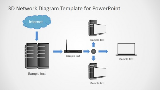 3D Network Diagram Template for PowerPoint