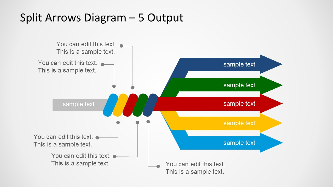Split arrows diagram template for powerpoint slidemodel ccuart Images