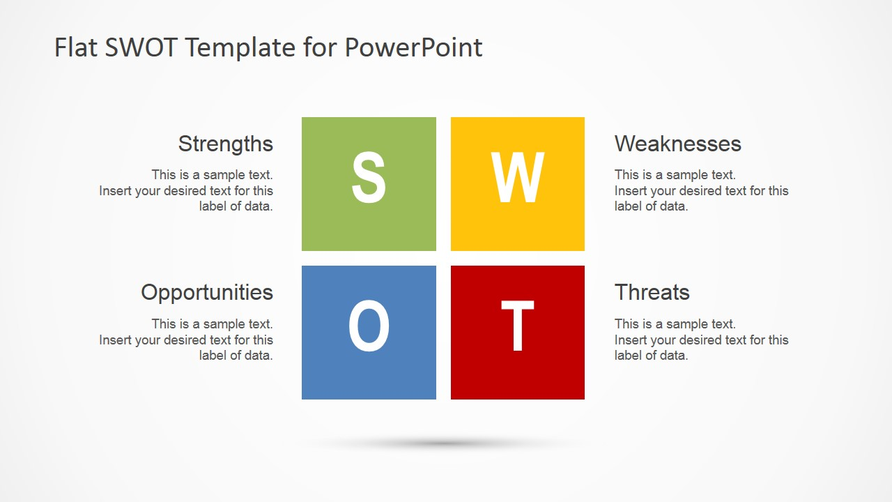 PowerPoint SWOT Analysis Diagram in Modern Flat Design