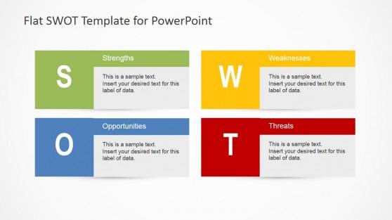 Flat SWOT Analysis PowerPoint Diagram