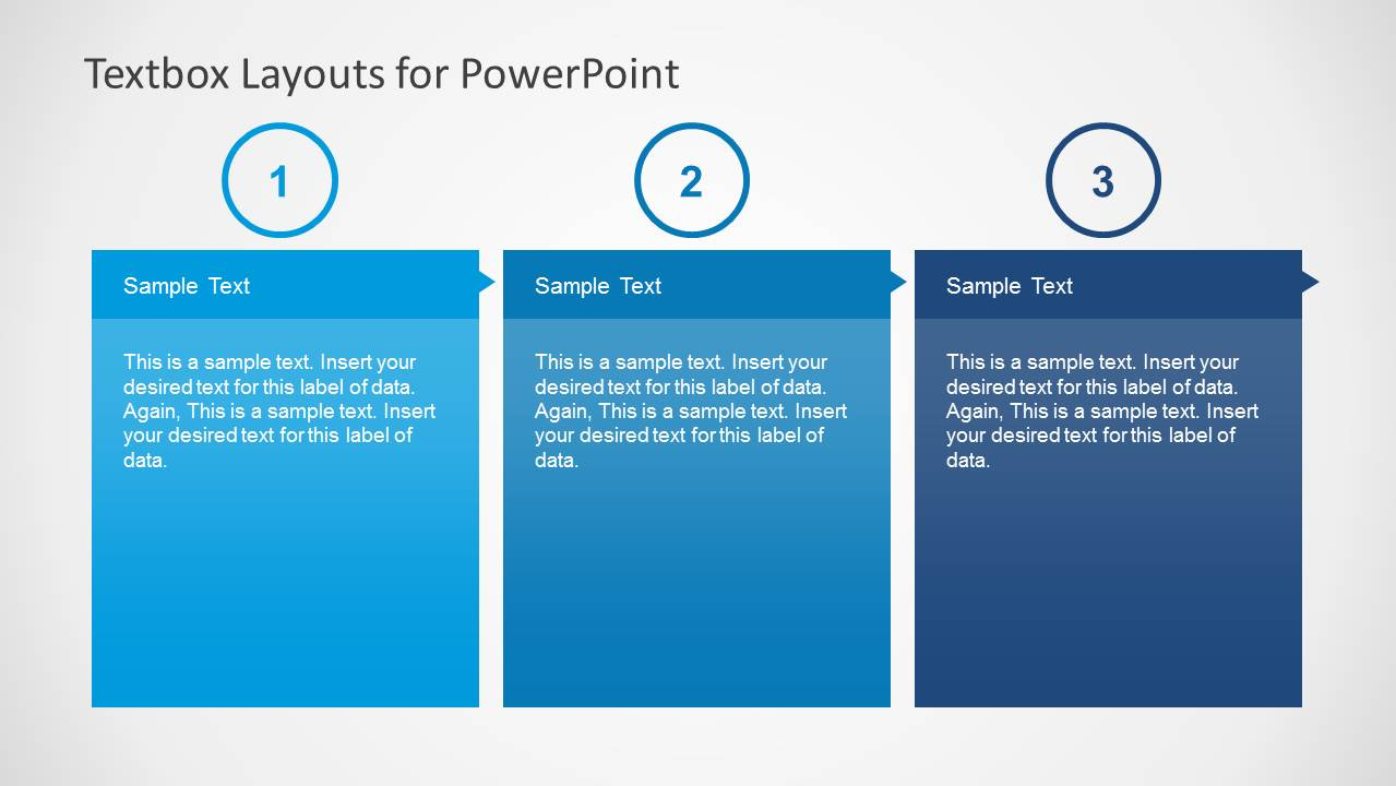 3 Column Text Boxes Slide Design for PowerPoint with Numbered List