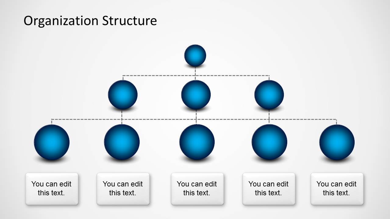 Organization Structure Template With Spheres For Powerpoint